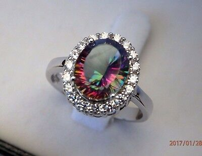 Natural Rainbow Fire Mystic Topaz & CZ Solid 925 Sterling Silver Halo Ring 7,8,9
