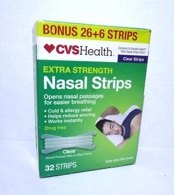 Cvs Health Extra Strength Nasal Strips 26+6=32 Strips - One Size Clear -