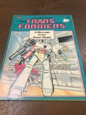 Message From Outer Space (1985) Transformers Coloring Book G1 NOS MEGATRON COVER