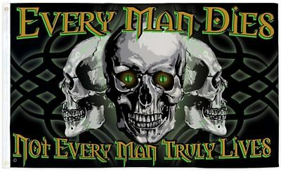 """Pirate """"Every man dies"""" flag 3x5' new Skull by Flag Joint gasparilla pirate"""