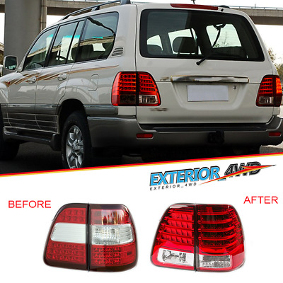 Pair LED DRL Rear Lights For Toyota Landcruiser 2000-2007 Red/Clear Tail Lamps