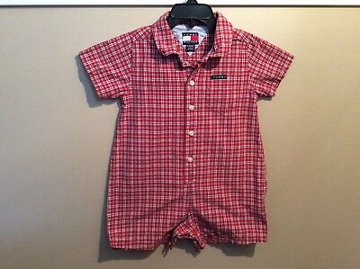 c52ca4779dbb BABY GAP ROMPER Ball Field Outfit White Blue Gingham Plaid Size 6-12 ...