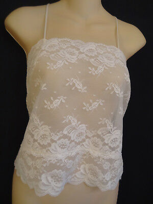 Vtg 70s/80s Deena Sheer Scalloped White Lace Crop Top/Camisole-34