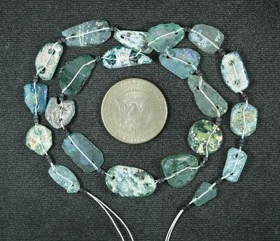 Ancient Roman Glass Beads 1 Medium Strand Aqua And Green 100 -200 Bc 934