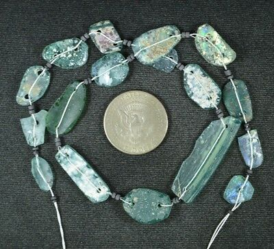 Ancient Roman Glass Beads 1 Medium Strand Aqua And Green 100 -200 Bc 935
