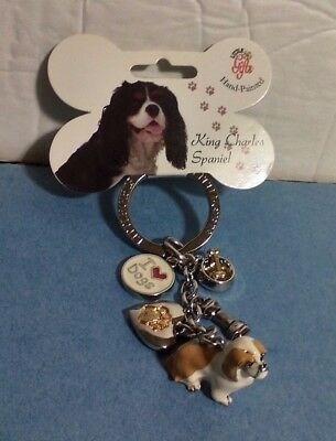 Little Gifts Hand Painted King Charles Spaniel Key Ring - NEW