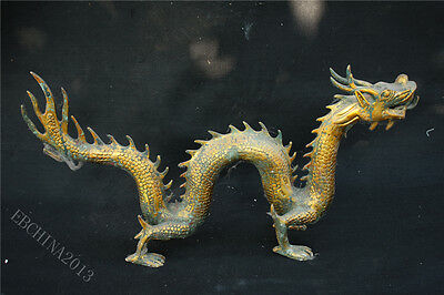 """24.8""""  Old China Collect Bronze Copper Gold Dragon Beast Statue Sculpture A"""