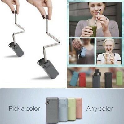 New Collapsible Reusable Stainless Steel Drinking Straw Portable Metal Bar Tool