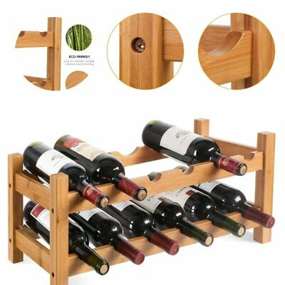 Timber wine rack cabinet storage shelf 12 bottle 3 tiers bar organiser stand hom