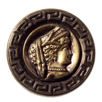 Collectible antique Victorian pictorial goddess greek key brass metal button