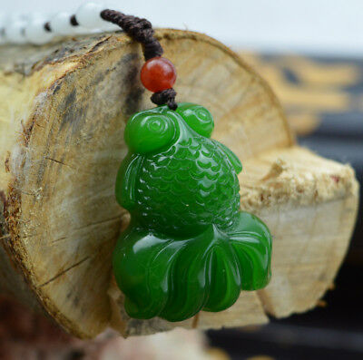 Chinese natural jade hand-carved green goldfish good luck pendant necklace