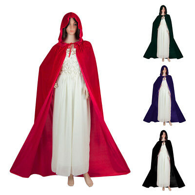 Women's Cloak with Hood Velvet Witch Cape for Halloween Christmas Party Cosplay