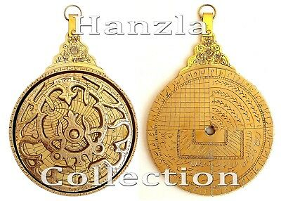 "Polished Brass Persian Astrolabe 11""Arabic Navigation Astrological Islamic Globe"