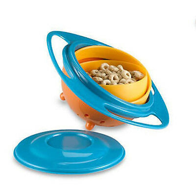 2x Baby Non Spill Bowl Gyro Rotation Stability No Spills Anti Spilling Mess