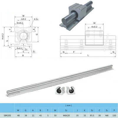 SBR20-1000mm 20mm Rail + 2 SBR20UU Block CNC Supported Linear Slide Guide Rod UK