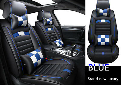 Luxury blue car seat front cover + rear 5 seat PU leather pad