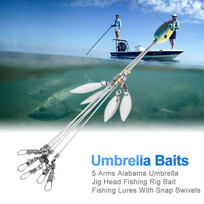 Durable 5 Arm 4 Blades Alabama Umbrella Rig Fishing Bass Lures Bait Kit Random