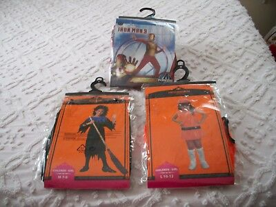 Lot of 3 NEW Kids Halloween Costumes Sizes S M & L Witch, Gogo Girl & Iron Man