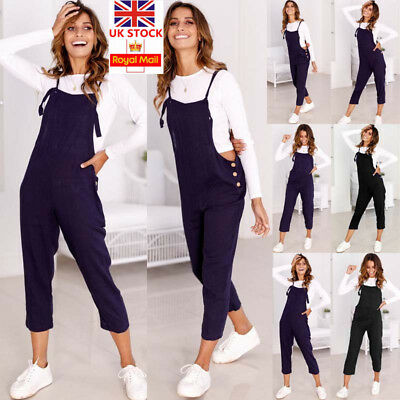 UK Women Sleeveless Dungarees Overall Playsuit Jumpsuit Romper Pants Trousers