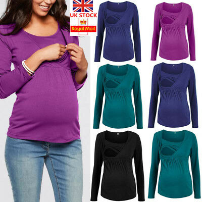 Pregnant Maternity Clothes Nursing Top Breastfeeding Long Sleeve Shirt Size 6-18