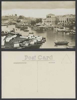 Singapore Old Real Photo Postcard BOAT QUAY Sampans & Boats Harbour Bridge Wharf