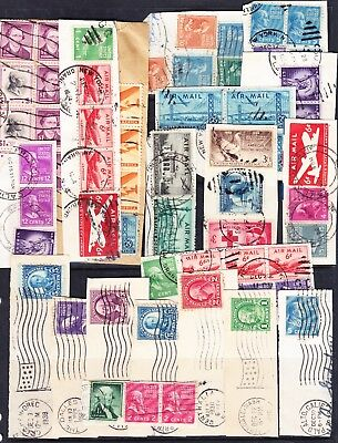 L34 USA Mainly 1950's Internal Airmail on piece, Used labels and Cinderellas