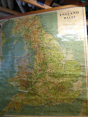 HUGE vintage School Wall Map ENGLAND AND WALES 1956 Philip