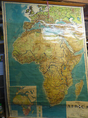 HUGE vintage School Wall Map AFRICA 1960 George Philip