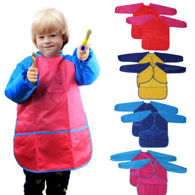 Childs Kids Pockets Waterproof Craft 1 Pcs Smock Cooking Hot Apron Painting