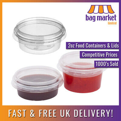 50 x 2oz Clear Round Plastic Containers & Lids | Food/Cups/Pot/Tub/Deli/Takeaway