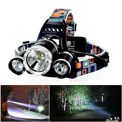 Outdoor 8000Lm 3x X-M-L T6 LED Flashlight Rechargeable Headlamp HeadLight TR