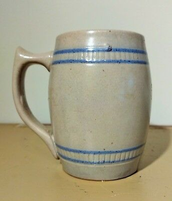 Old Salt Glaze Stoneware Mug Small With Blue Bands With Raised Pattern
