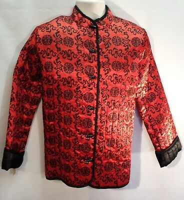 NOS Vintage 60's Bullocks of Wilshire Women's Quilted Red Asian Jacket SZ Med.