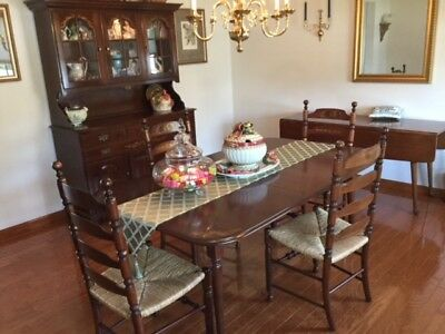 Hitchcock Briarcleffe Table & 4 Ladderback Chairs never set in, includes Hutch