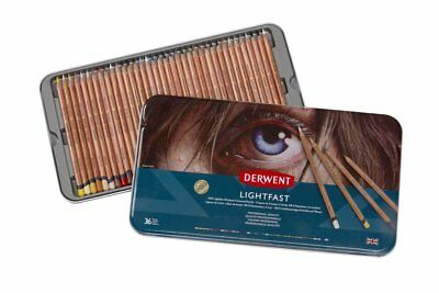 Derwent LIGHTFAST Professional Quality Oil Based Colour Pencils 36 Tin Set