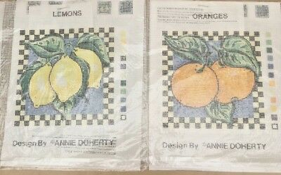 Primavera, Needlepoint / tapestry canvases (2) of oranges and lemons