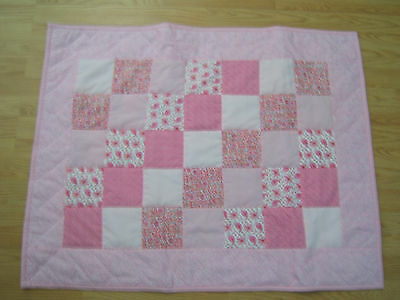 "Handmade baby girl quilt in assorted pink fabric 38 1/2"" x 30""  NEW #718"