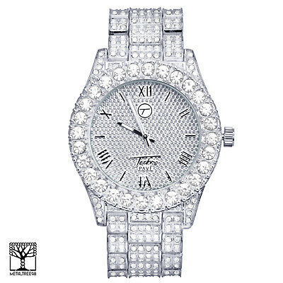 Techno Pave Men's Silver Plated Iced CZ Metal Band Watches WM 8719 S