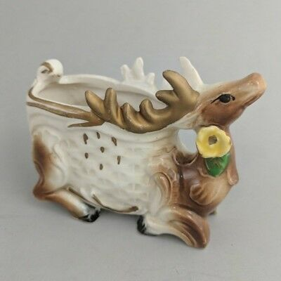 Tiny Vintage Reindeer Planter Made in Japan Ceramic Holiday Christmas Decor
