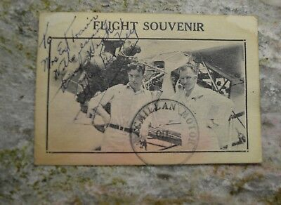 Vintage c1920 Signed Flight Souvenir Al & Fred Flying Key Bros early aviation
