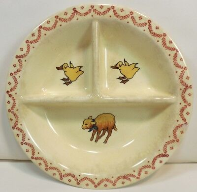 Vintage 1942 BABY DUCKLINGS & LAMB SHEEP Child's DIVIDED PLATE Crown Potteries