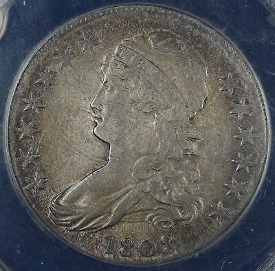 1808 50c  Capped Bust O-109 Half Dollar ANACS VF 35 DETAILS CLEANED