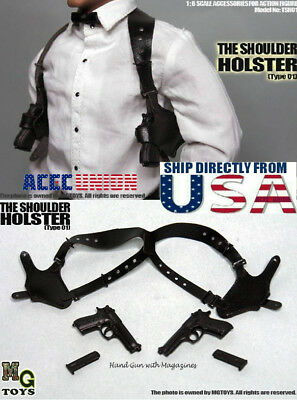 MG Toys 1/6 Mens Black Shoulder Holster Set For John wick Hot Toys PHICEN U.S.A.