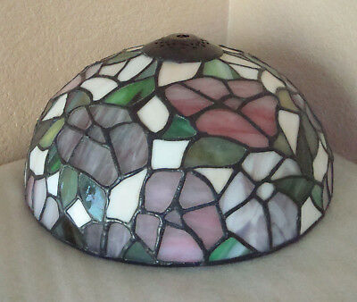 """Vintage Tiffany Style Floral Stained Glass Lamp Shade Roses Flowers 10"""" large"""