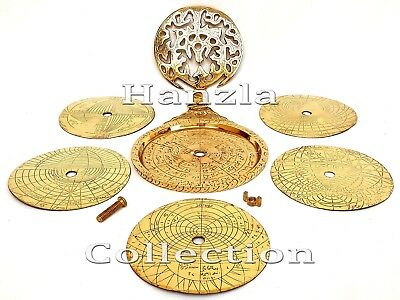 "Arabic Navigation Globe 9"" Brass Islamic Astrolabe Vintage Astrological Calendar"