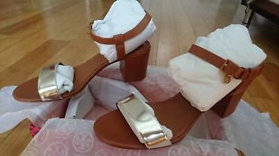 87ba56a4a88a7 Tory Burch Laurel 65mm Ankle-Strap Sandal Sz 10 New Mirror Metallic/Calf  Leather