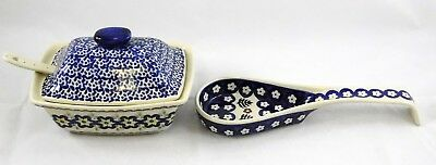 Boleslawiec Polish Pottery Blue White Floral Serving Dish w Ladle and Spoon Rest