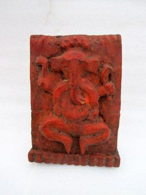 Antique Old Collectible Hand Carved Unique Wood Hindu God Ganesha Figure Statue