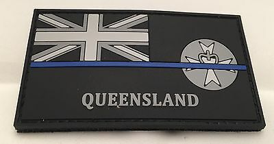 QLD Thin Blue Line, Police Rubber Patch, State Flag, Hook Rear, TBL