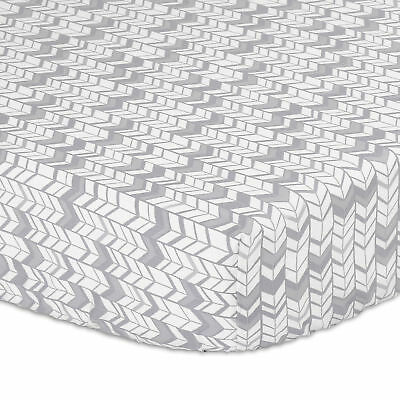 Grey and Silver Herringbone Fitted Crib Sheet by The Peanut Shell